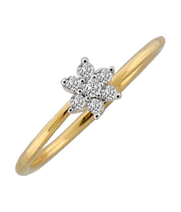 Avsar 0.12 Ct. Diamond 18kt Gold Flower Spark Ring
