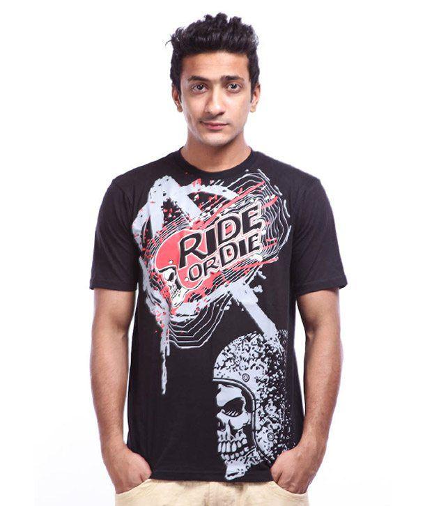 Lycans Black Printed T-Shirts