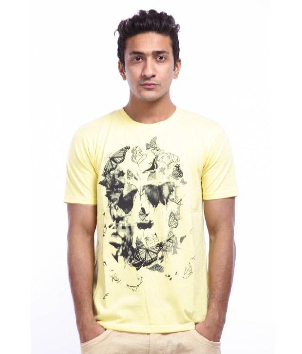 Lycans Yellow Flies Skull Printed T-Shirts
