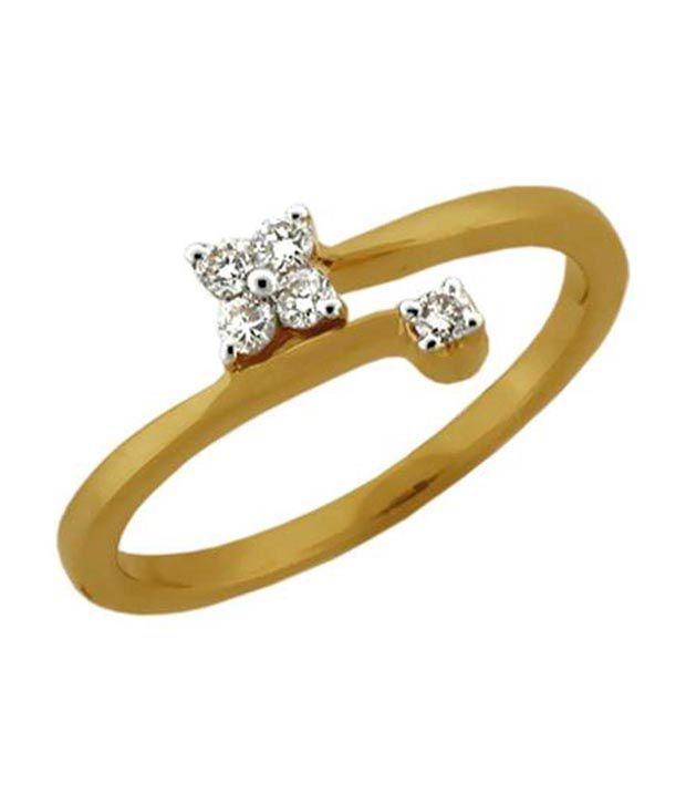 Avsar 0.10 Ct. Five Diamond 18kt Gold Floral Ring