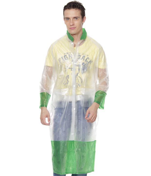 Jorss Transparent & Green Large Unisex Raincoat