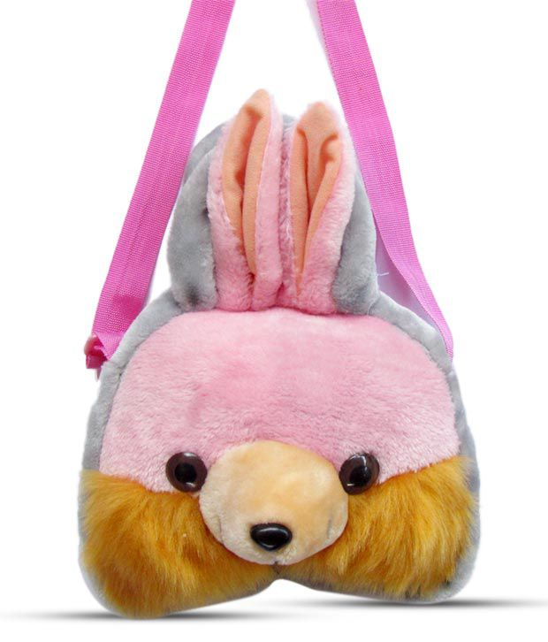 Tickle Pink  amp; Brown Bunny School Bag   20 Cm