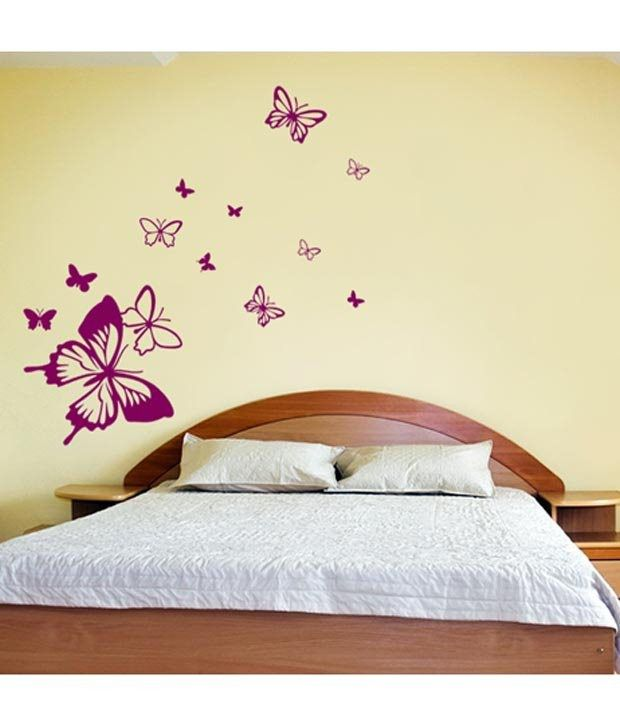 WallDesign Butterfly Away Purple Wall Stickers 1