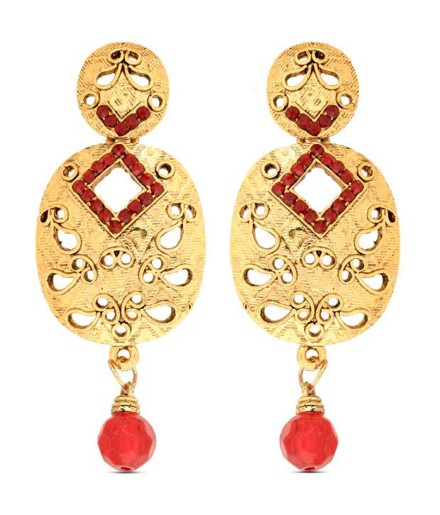 Sia Openwork Festive Red Drop Earrings