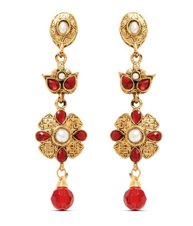 Sia Fine Floral Red Drop Earrings