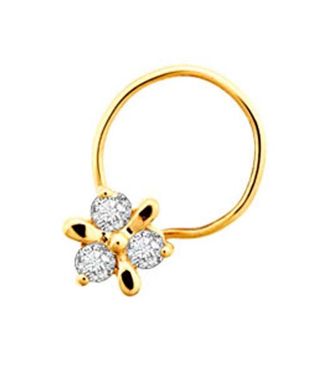 Bling 18kt Gold 0.03 Ct. Diamond Floral Nosering