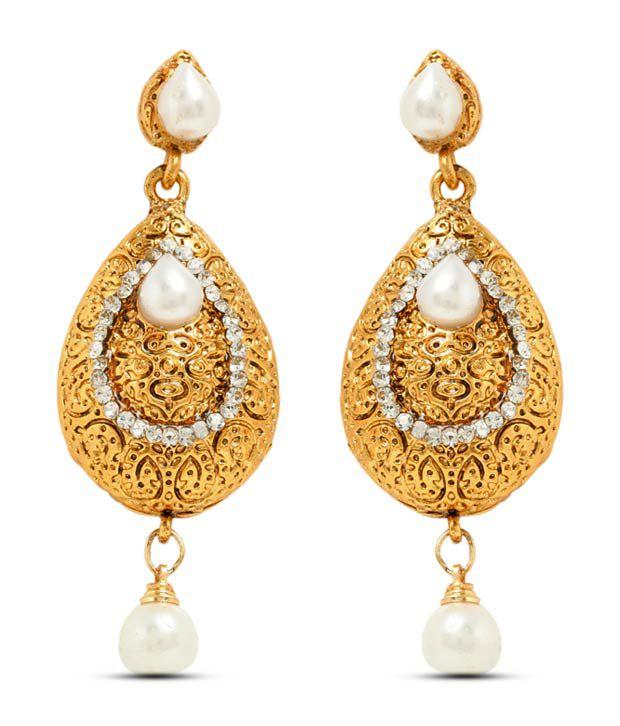 Sia Golden Pear Shaped Pearl Drop Earrings