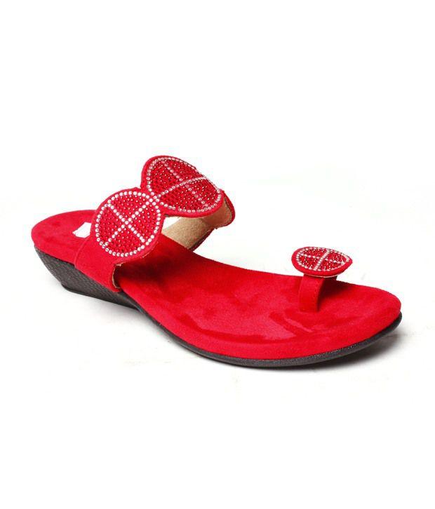 Do Bhai Captivating Red Slip-on Heels