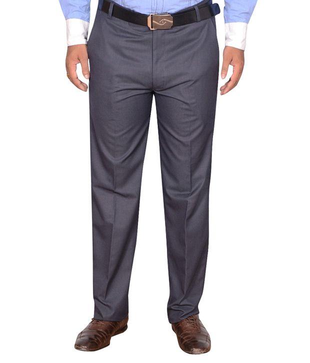 Addiction Grey Regular Fit Poly Viscos Trouser