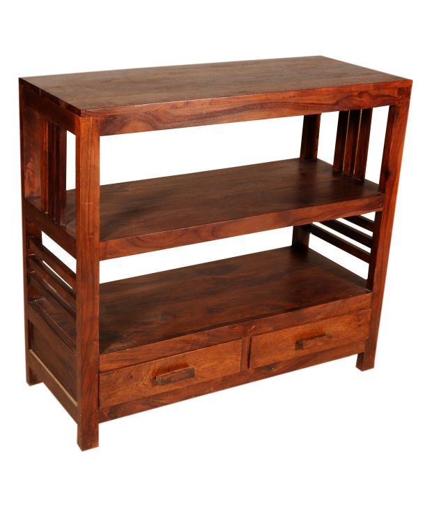 Sheesham Wood End Table With Lower Drawers