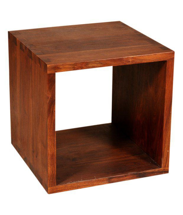Sheesham Wood Cube Shaped Side Table