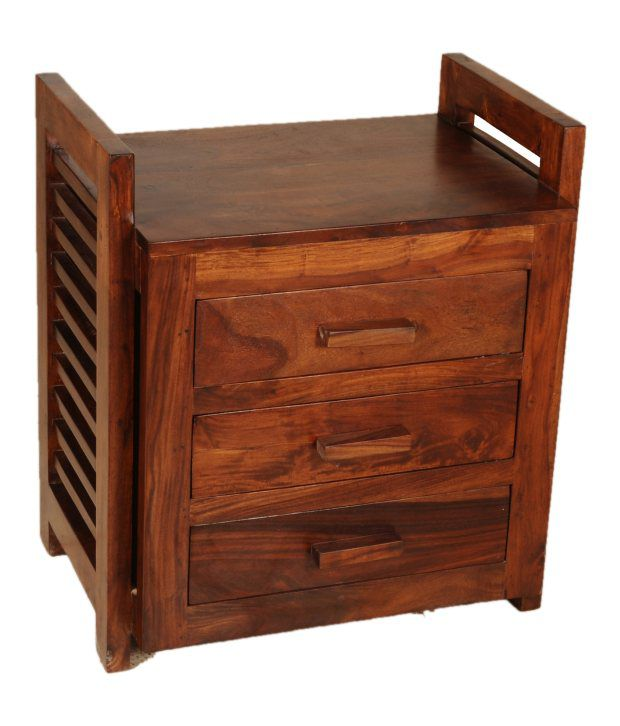 Sheesham Wood BedSide Table With 3 Drawers