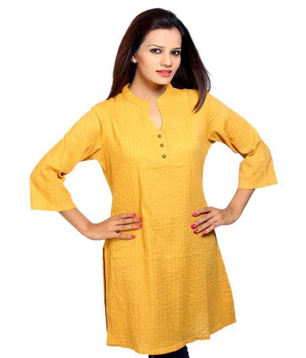 Kurtawala Mustard Pintuck Yellow Printed Kurti
