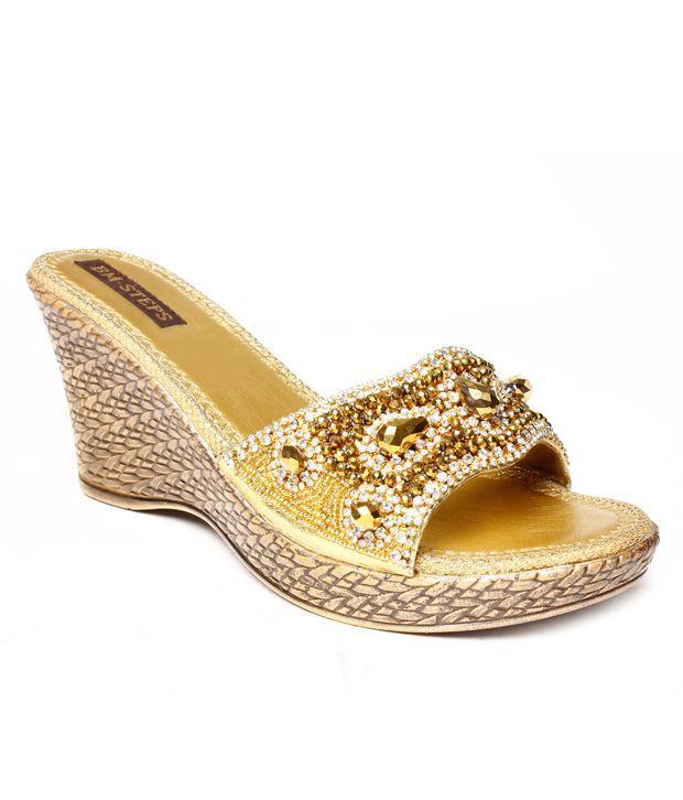 Do Bhai Envious Golden Slip-on Heels