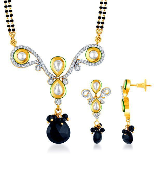 Sukkhi Two Tone Bead Drop Kundan & CZ Mangalsutra Set (Mangalsutra Mala may vary from the actual image)