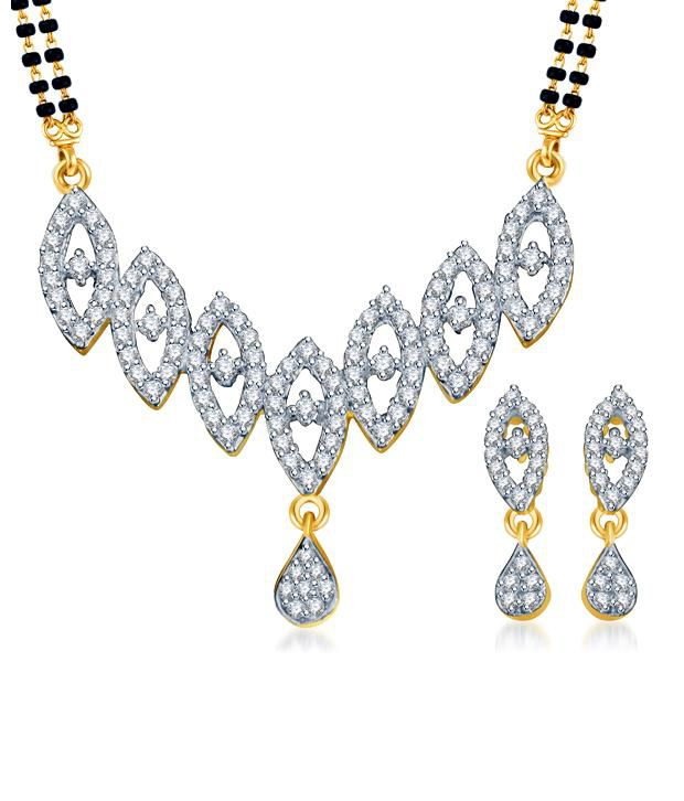 Sukkhi Marquise Motif Gold & Rhodium Plated CZ Mangalsutra Set (Mangalsutra Mala may vary from the actual image)