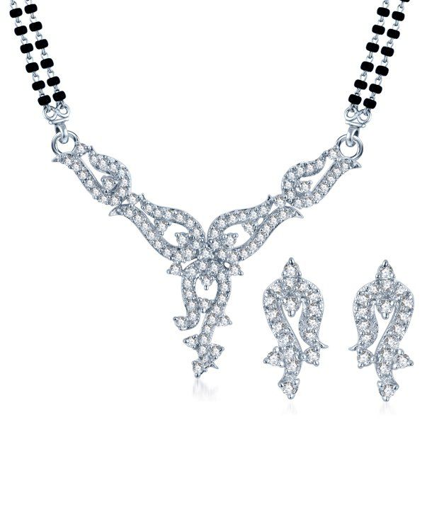 Sukkhi Pleasing Rhodium Plated CZ Mangalsutra Set (Mangalsutra Mala may vary from the actual image)