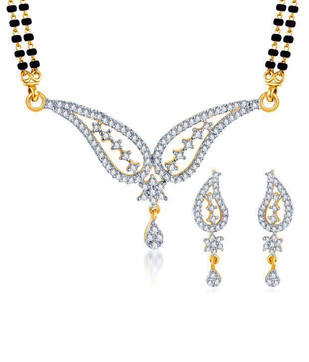 Sukkhi Drop Shape Gold & Rhodium Plated CZ Mangalsutra Set (Mangalsutra Mala may vary from the actual image)