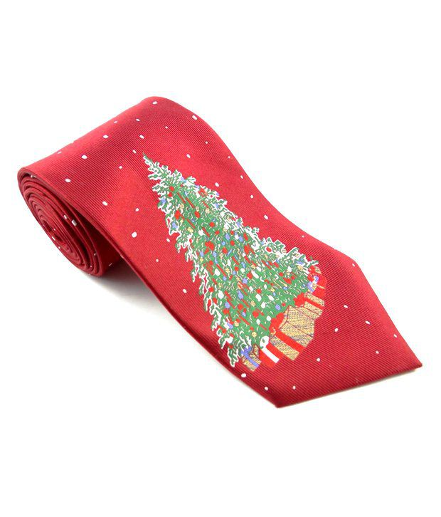 Tossido Red Christmas Tree Printed Tie