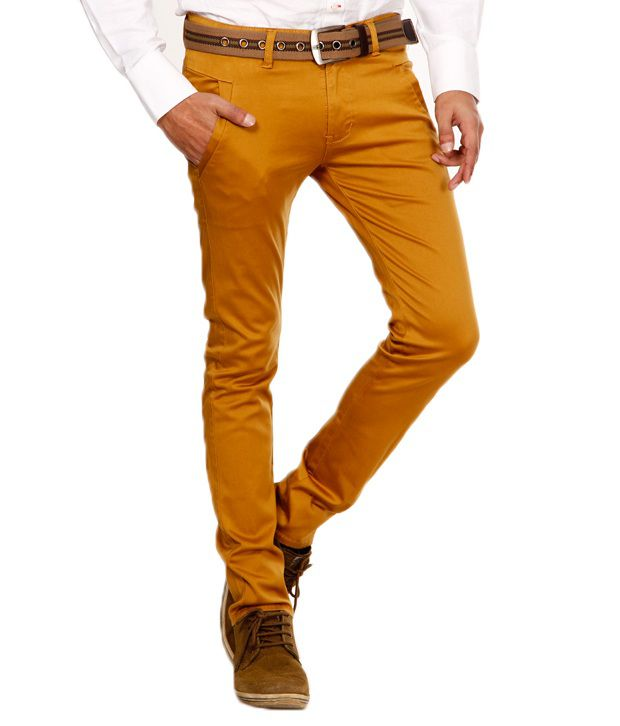 Design Roadies Mustard Slim Fit Chinos