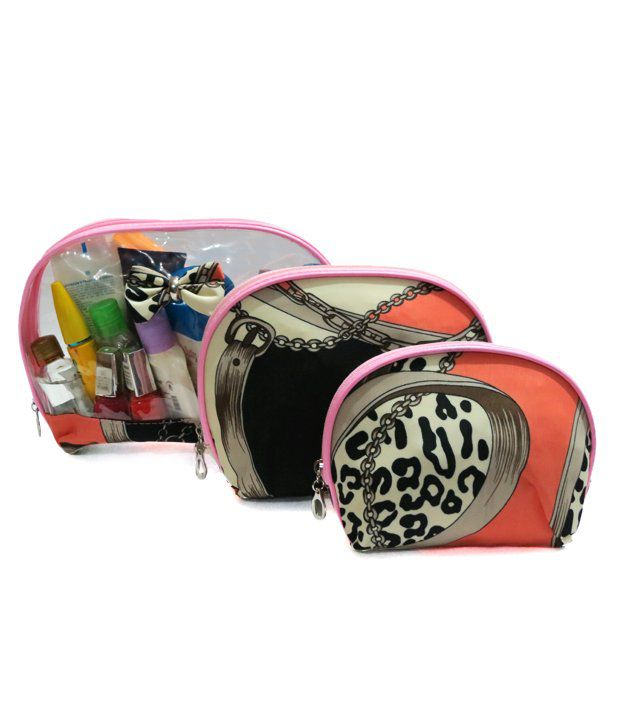 A-Maze Set of 3 Cosmetic Pouches - Peach & Black