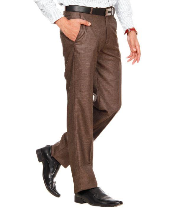Praado Brown Textured Linen Trouser
