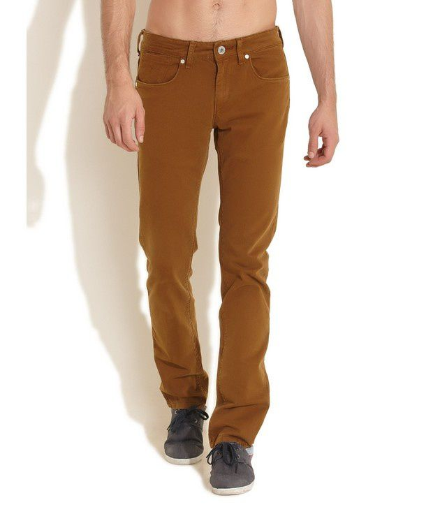 Flying Machine Brown Slim Tapered Italian Handcrafted Jeans