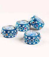 Blackberry Overseas Set of 4 Blue Color Decorative T-Light Holder with Tea Lights