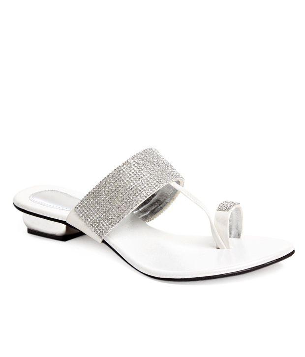 Do Bhai-Shoebazaar White Slip-on Heels