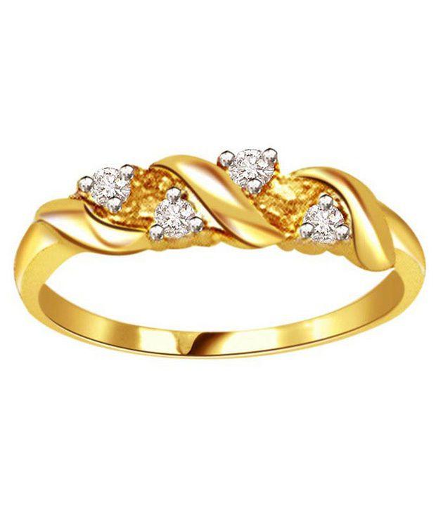 Surat Diamond 0.12 Cts. Diamond 18Kt Yellow Gold Contemporary Ring