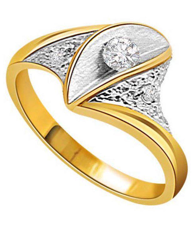Surat Diamond 0.07 Cts. Diamond 18Kt Yellow Gold Contemporary Rings