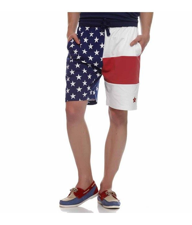 American Swan Blue,White Solid Shorts
