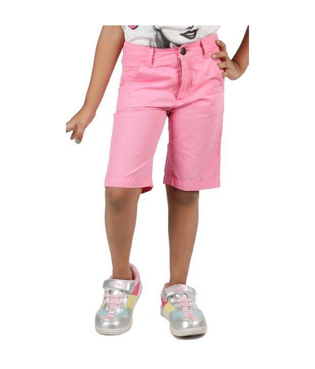 Little Aiva Pink Cotton Girls - Smart Shorts For Kids