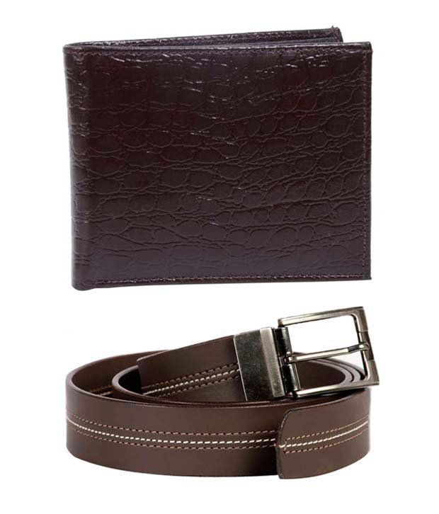Lords Attractive Brown Belt & Wallet Combo