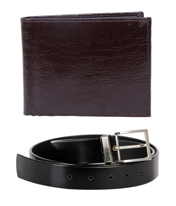 Lords Admirable Black Belt & Brown Wallet Combo