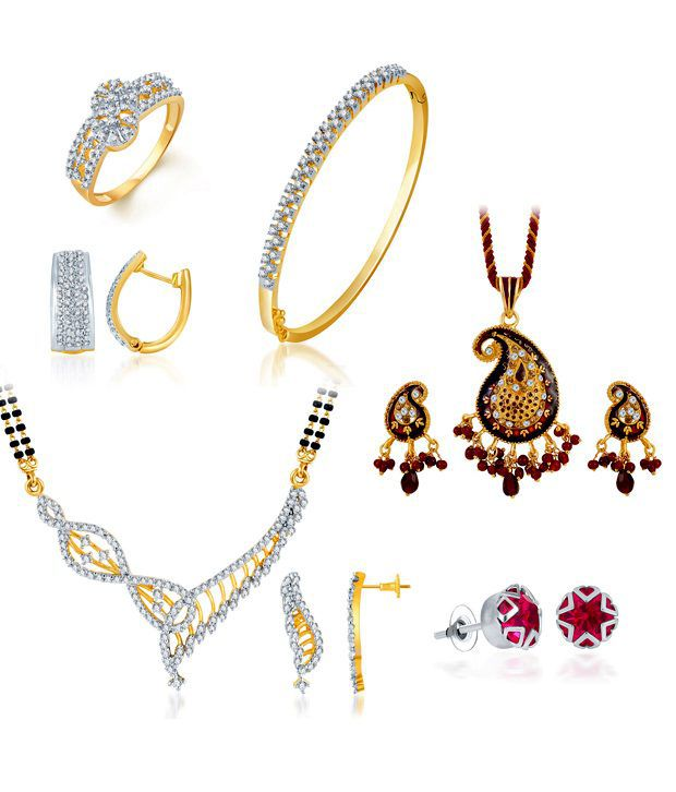 Sukkhi Fine Mangalsutra Set, Pendant Set, Earrings, Bracelet & Ring Combo (Mangalsutra Mala may vary from the actual image)
