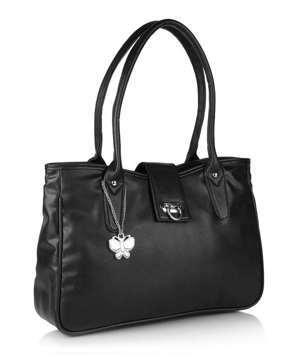 Butterflies BNS0286 Black Smooth Textured Shoulder Bag