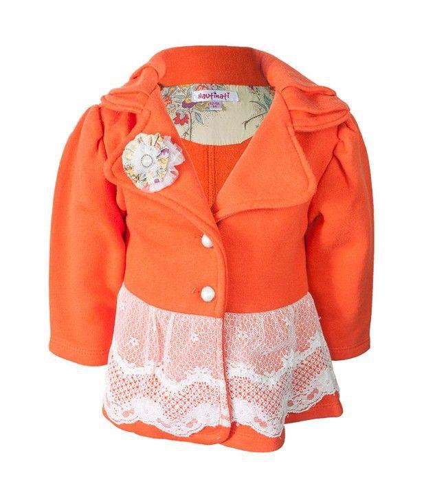 Nauti Nati Orange Orange Fleece Jacket For Kids