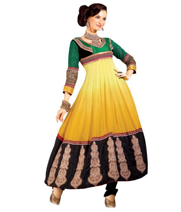 Fabdeal Yellow Embroidered fabricunstitched suit with dupatta