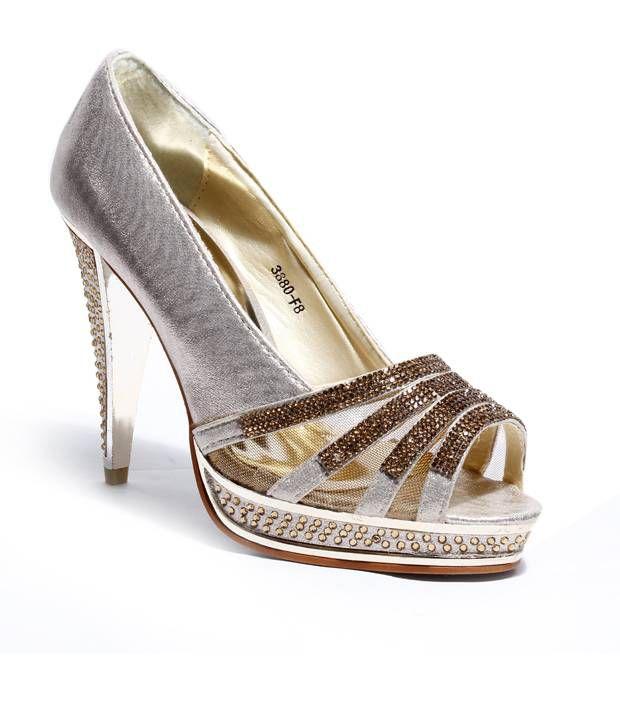 Do Bhai-Shoebazaar Stunning Golden Heel Pumps