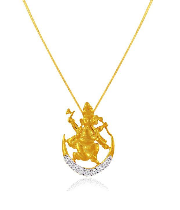 Spargz Spiritual Ganesh Pendant Studded With CZ