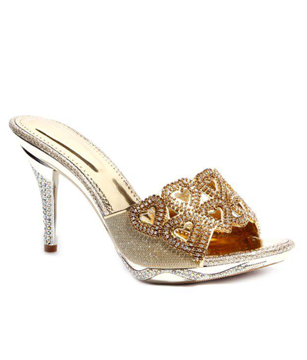 Do Bhai-Shoebazaar Striking Golden Slip-on Heels
