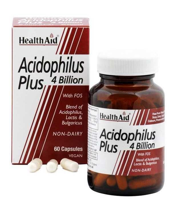 Health Aid Acidophilus PLUS 4 Billion. Probiotics , 60 Veg Capsules