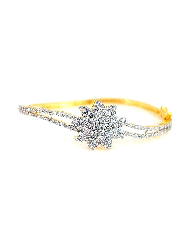 Golden Collections CZ Floral  Bracelet