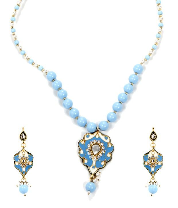 Hi Look  Blue Ethnic Beaded Short Necklace  available at snapdeal for Rs.325