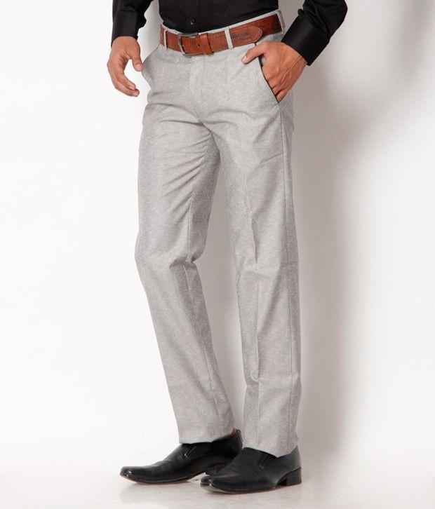 Jogur Light Grey Formal Regular   Fit Trouser
