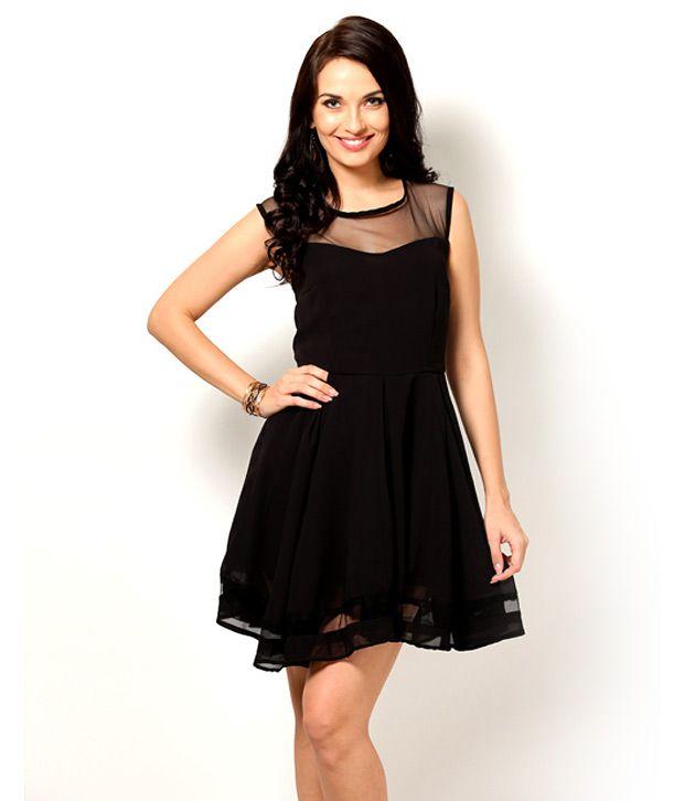 Besiva Black Mesh Cocktail Dress