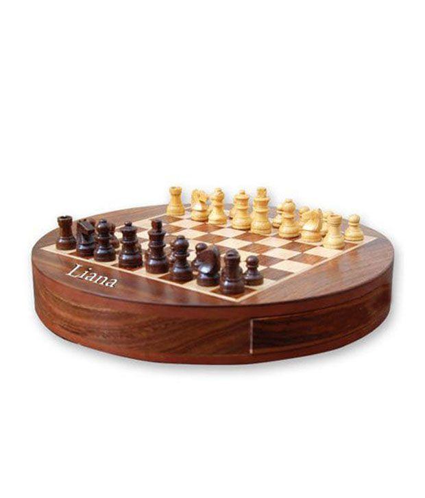 Liana Magnetic Chess Round ( Sheesham Woods ) 9 Inch