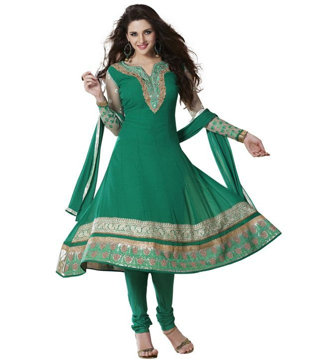 Fabdeal Green Embroidered Faux Georgette Unstitched Suit With Dupatta