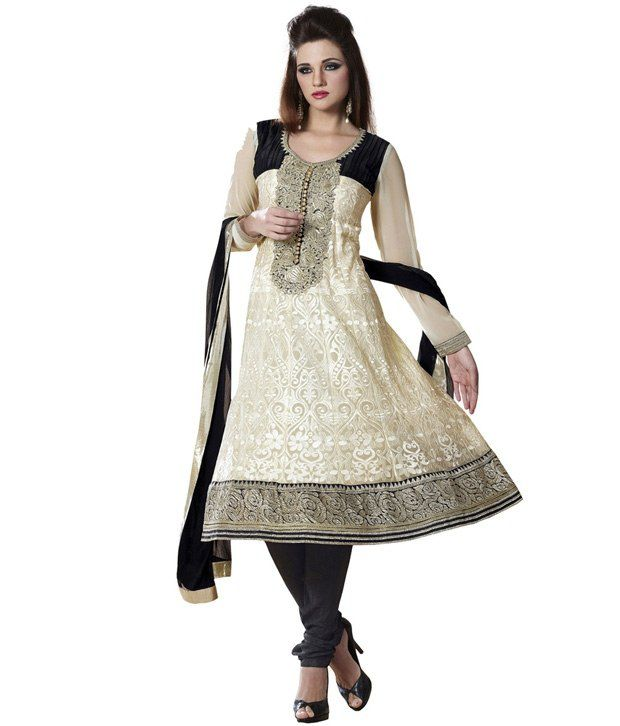 Fabdeal White Embroidered Faux Georgette Unstitched Suit With Dupatta